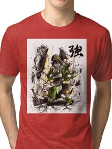 Toph from Avatar with sumi and watercolor Tri-blend T-Shirt
