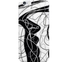 Black & white, tangled abstract, scribble art iPhone Case/Skin