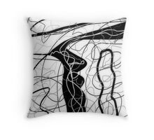 Black & white, tangled abstract, scribble art Throw Pillow
