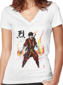 Zuko from Avatar with sumi ink and watercolor Women's Fitted V-Neck T-Shirt