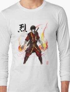 Zuko from Avatar with sumi ink and watercolor Long Sleeve T-Shirt