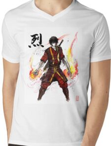 Zuko from Avatar with sumi ink and watercolor Mens V-Neck T-Shirt