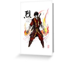 Zuko from Avatar with sumi ink and watercolor Greeting Card