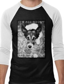 Terrier Obsession: It's All About The Ball - Black and White Remix Men's Baseball ¾ T-Shirt