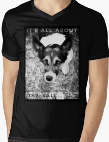 Terrier Obsession: It's All About The Ball - Black and White Remix Mens V-Neck T-Shirt