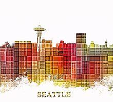 Seattle Washington skyline colored by JBJart