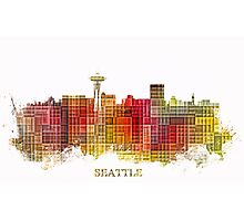 Seattle Washington skyline colored Photographic Print