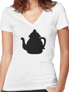 Black teapot Women's Fitted V-Neck T-Shirt