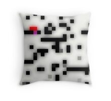 Pixel art, black, white, red, glass look Throw Pillow