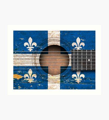 Old Vintage Acoustic Guitar with Quebec Flag Art Print