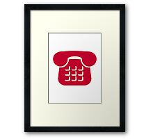 Red telephone icon Framed Print