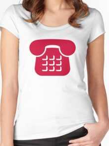 Red telephone icon Women's Fitted Scoop T-Shirt