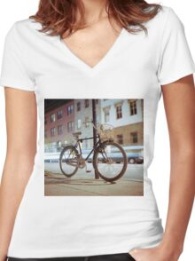 City Bicycle Women's Fitted V-Neck T-Shirt