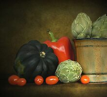 Artichokes And Pottery by Holly Cawfield