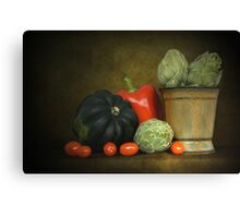 Artichokes And Pottery Canvas Print