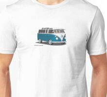 VW Bus T2 Samba Teal on White Hippie Bus Unisex T-Shirt