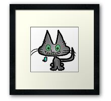 Gray Kitten has a Blue Mouse Toy Framed Print
