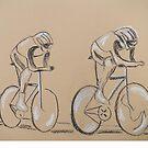 Cycle race, original art work by Susan Brown