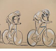 Cycle race, original art work by Susan Brown