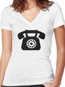 Telephone symbol Women's Fitted V-Neck T-Shirt