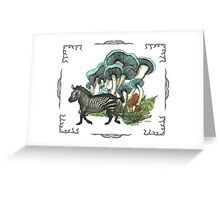 Dancing Zebra Losts in Blue Dizzy Fungi Forest (frame) Greeting Card