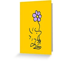 Woodstock with Flower Greeting Card