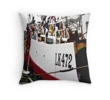 Posterized Harbour traffic Throw Pillow