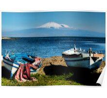 Etna  from Brucoli, Sicily Poster
