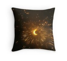 The bright sparks from a Diwali Chakri - a fast spinning firework Throw Pillow