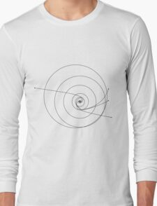 Voyager and Pioneer solar system map Long Sleeve T-Shirt