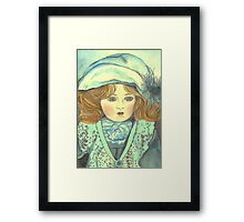 DOLL-PRINCESS - ANTIQUE FRENCH PORCELAIN-DOLL with blue Hat  Framed Print