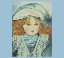 DOLL-PRINCESS - ANTIQUE FRENCH PORCELAIN-DOLL with blue Hat  Kids Clothes