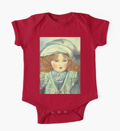 DOLL-PRINCESS - ANTIQUE FRENCH PORCELAIN-DOLL with blue Hat  One Piece - Short Sleeve