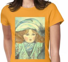 DOLL-PRINCESS - ANTIQUE FRENCH PORCELAIN-DOLL with blue Hat  Womens Fitted T-Shirt