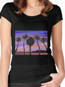 Gold palm trees in the pink sunset Women's Fitted Scoop T-Shirt