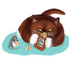 Bag of Popcorn for Mouse and Kitten by NineLivesStudio
