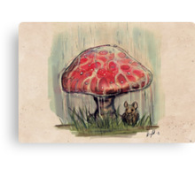 Mouse Sheltering Under Toadstool Canvas Print