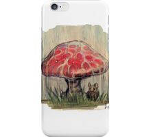 Mouse Sheltering Under Toadstool iPhone Case/Skin