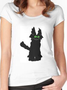 Jack the Fuzzy Black Cat Women's Fitted Scoop T-Shirt
