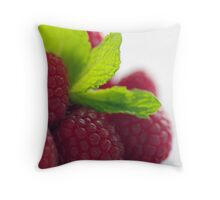 Raspberries and Mint Throw Pillow