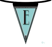 Manhattan 1920s Deco Blues Banner… Monogram letter initial E by CecelyBloom