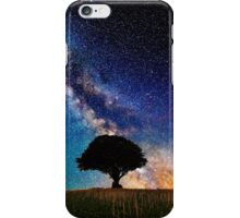 Galaxy With Tree On Hill Top iPhone Case/Skin