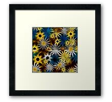Blue and Yellow Fractal Daisies Framed Print