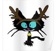 Kitty with Felt Reindeer Antleers Poster