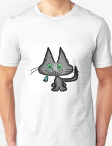 Gray Kitten has a Blue Mouse Toy T-Shirt
