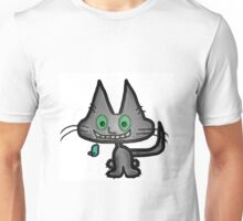 Gray Kitten has a Blue Mouse Toy Unisex T-Shirt
