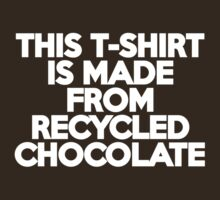 This t-shirt is made from recycled chocolate by onebaretree