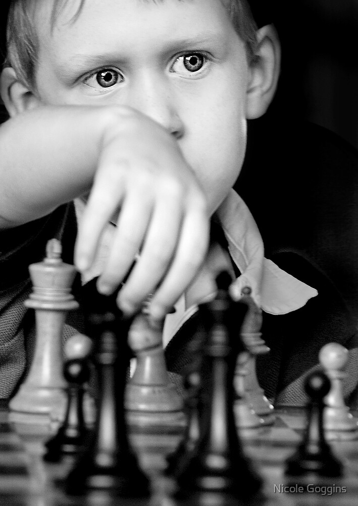 Louis playing chess by Nicole Goggins
