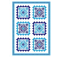 Traditional Folk Pattern - Blue Photographic Print