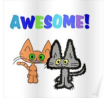 Two Kittens See Something Awesome  Poster